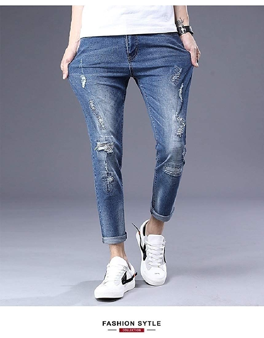 Comaba Men Skinny Washed Ripped-Holes Plus Size Curling Edge Jeans Pants
