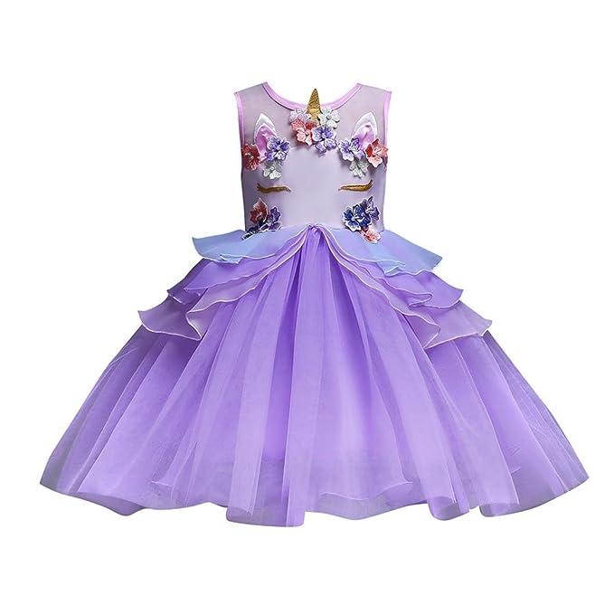 989e69cfaa Muium Toddler Baby Girls Sleeveless Flower Princess Dress Unicorn Bridesmaid  Pageant Party Wedding Dress for 1