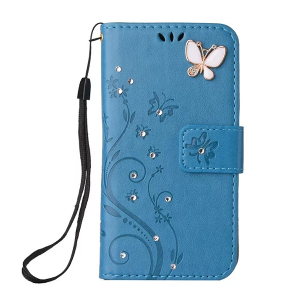 LG Aristo Case,LG K8 2017 Wallet Case,LG LV3 Case Flip Case PU Leather Flip Folio Kickstand Handmade 3D Bling Diamond Butterfly Flower Wallet Case with Card Slots for LG K8 2017 (Blue)