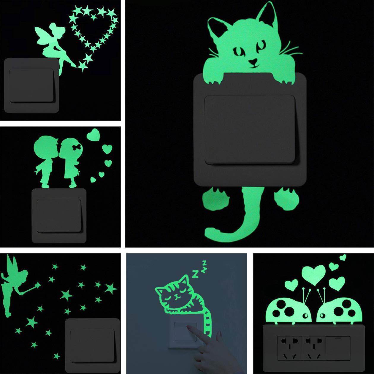 6 Pezzi Interruttore Adesivi,Toycc Adesivo vinilico decorativo da parete/vetro/porta, gatto,Fata in piedi,Fata seduta,Coppia di scarabeo,Gatto addormentato,Lovers motivo