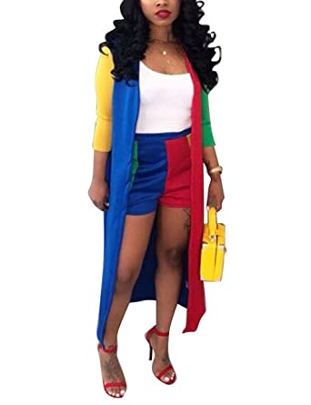 148740c0ca05 Akmipoem Womens Color Block Cardigan Cover up Outfit and Shorts 2 Piece  Suit Set  Amazon.co.uk  Clothing