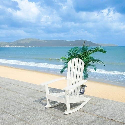 Safavieh PAT7042C Outdoor Brizio Classic White Adirondack Rocking Chair
