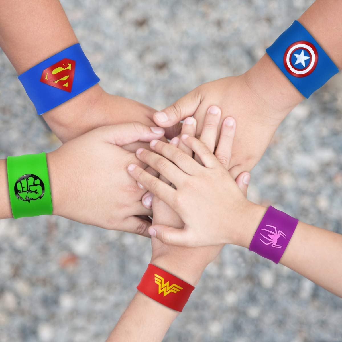 POKONBOY Superhero Slap Bracelets for Kids Party favors - 24 Pack Slap Bracelets for Boys Girls Kids Super Hero Birthday Party Favors Supplies Carnival Boys Prizes by POKONBOY (Image #8)