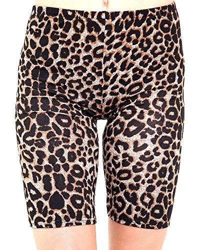 R KON WOMEN'S PRINTED STRECHY ABOVE KNEE BIKE CYCLING SHORTS ACTIVE LEGGINGS. (ML US 8/10 UK 12/14, BROWN LEOPARD)