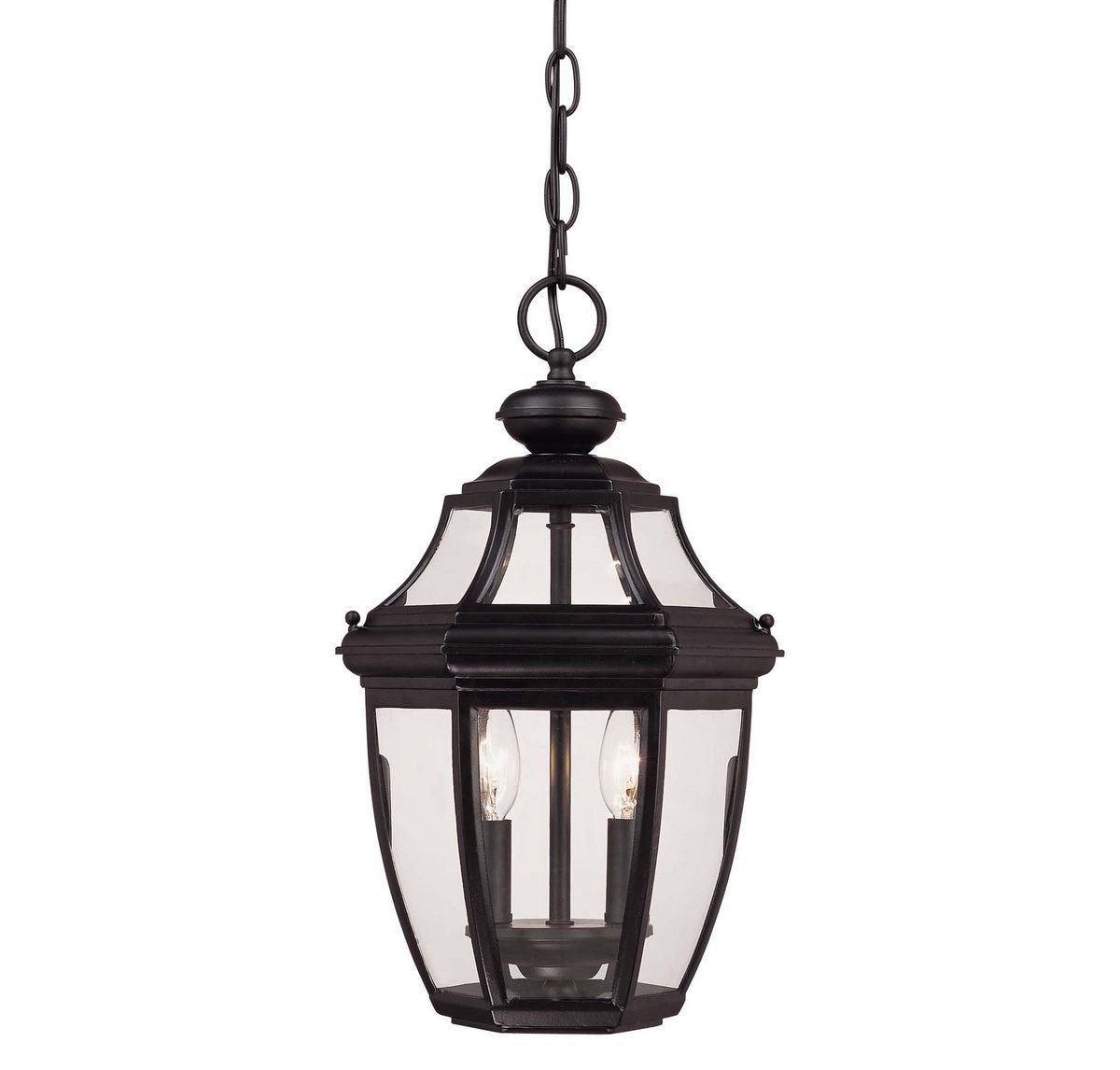 Savoy House Lighting 5-494-BK Endorado Collection 2-Light Outdoor Hanging Entry Lantern, Black Finish with Clear Glass