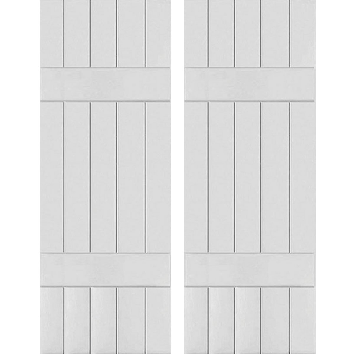 Ekena Millwork RWB18X048PRW Exterior Five Board Real Wood Western Red Cedar Board-n-Batten Shutters (Per Pair), 18'' x 48'', Primed by Ekena Millwork