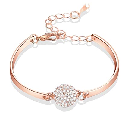 c80e44732b9cab Amazon.com: Hongxin Trendy Silver Color Creative Geometric Adjustable Charm  Bracelets & Bangles For Women Fashion Jewelry Romantic Gift For Her (Rose  Gold): ...