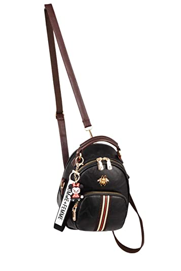 756af91d1c2f Image Unavailable. Image not available for. Color  LONGESS Women s Mini  Backpack Purse PU Leather Casual Drawstring Daypack Convertible Shoulder Bag  ...