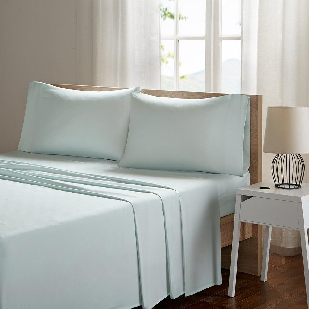 Sleep Philosophy Smart Cool Microfiber Moisture-Wicking Breathable Hypoallergenic 4 Piece Cooling Sheet Set, King Size, Aqua