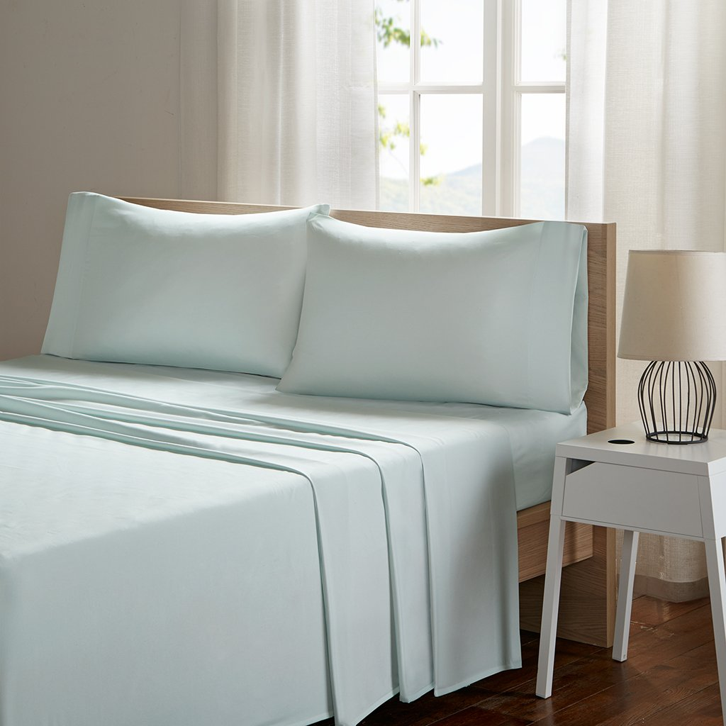 SLEEP PHILOSOPHY Smart Cool Microfiber Moisture-Wicking Breathable Hypoallergenic 4 Piece Cooling Sheet Set, Queen Size, Aqua