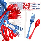 240 Pack USA Patriotic Decorative Cutlery Set in Red, White and Blue. Includes 80 Spoons, 80 Forks, 80 Knives. Quality Materials, Food Safe for Parties, Picnics, 4th of July