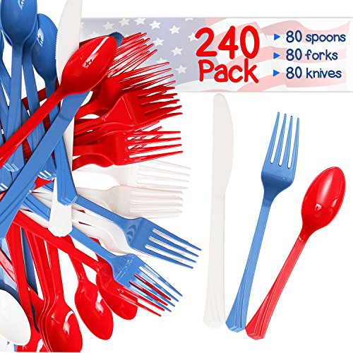 240 Pack USA Patriotic Decorative Cutlery Set in Red, White and Blue. Includes 80 Spoons, 80 Forks, 80 Knives. Quality Materials, Food Safe for Parties, Picnics, 4th of -