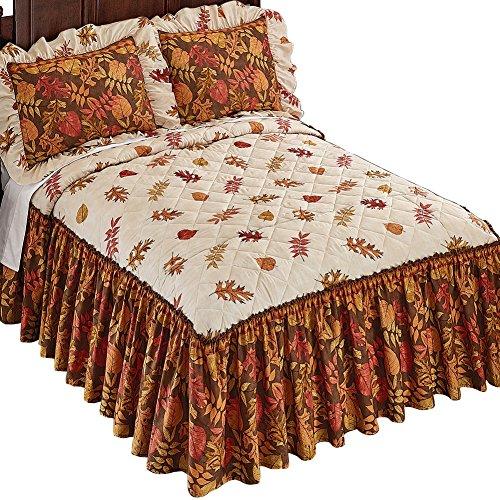 Autumn Foliage Quilt Top Ruffled Skirt Lightweight Bedspread, Queen