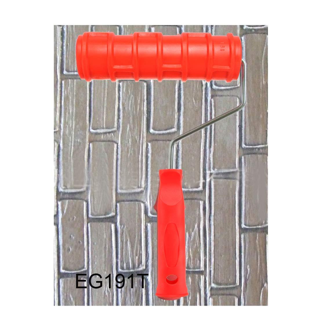 uxcell Painting Roller Decoration Empaistic Wooden Grain Paint Roller w Plastic Handle EG191T