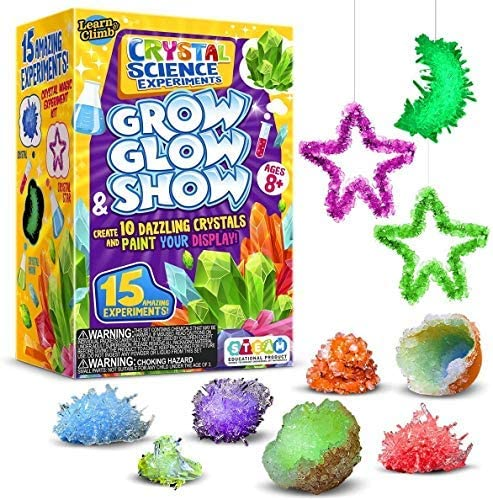 Learn & Climb Crystal Growing equipment for Kids. Science Experiment Kit - 10 Crystals! Great Crafts Gift for Girls and Boys Ages 6,7,8,9,10