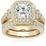 Yellow-Gold-Plated Sterling Silver Antique Ring set with Asscher-Cut Swarovski Zirconia, Size 8