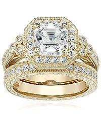 Platinum or Gold Plated Sterling Silver Asscher-Cut Swarovski Zirconia Antique Ring Set (4.5 cttw)