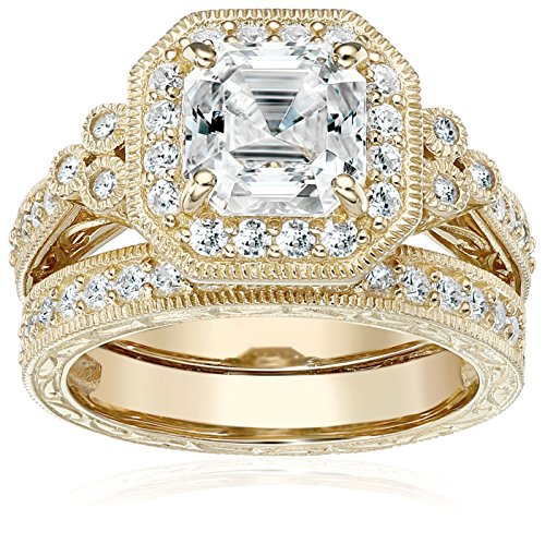 (Yellow-Gold-Plated Sterling Silver Antique Ring set with Asscher-Cut Swarovski Zirconia, Size 6)