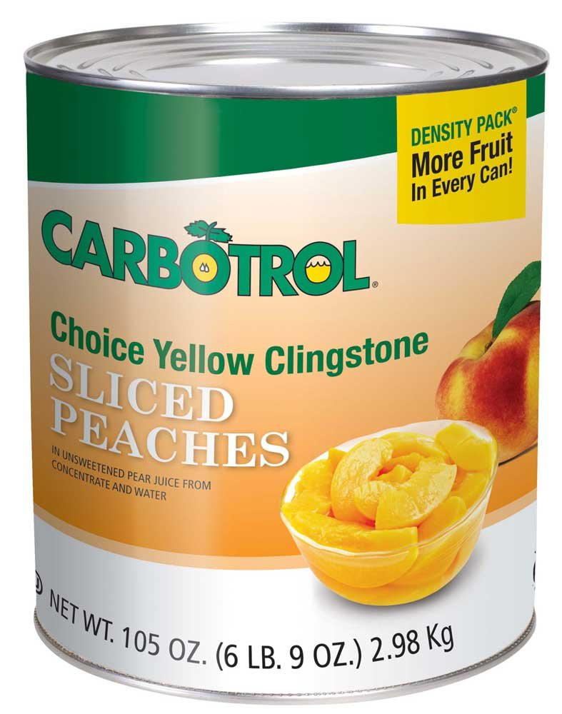 Fruit Carbotrol Peach Sliced Yellow Cling 6 Case 10 Can by Leahy IFP