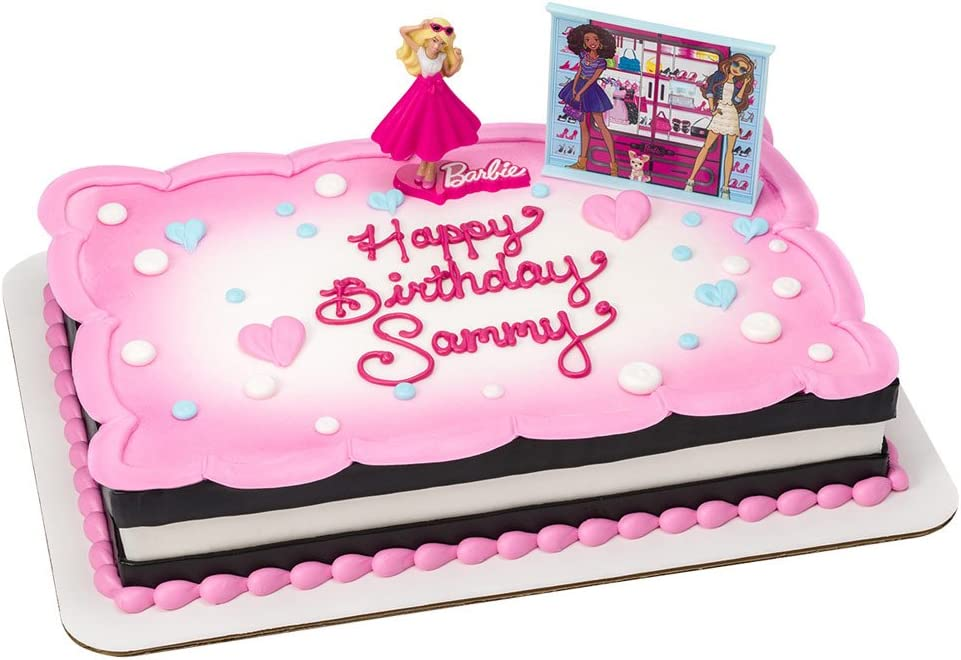 Groovy Amazon Com Barbie Birthday Cake Kit Kitchen Dining Funny Birthday Cards Online Alyptdamsfinfo