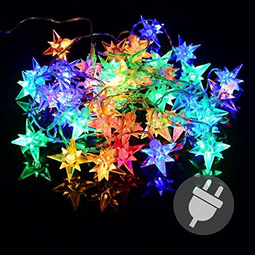 40er LED Lichterkette Stern Weihnachten bunt Sternenlichterkette XMAS Außen