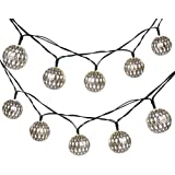 LUCKLED 11ft 10 LED Fairy Moroccan Ball Lights, Globe Solar String Lights Decorative Lighting for Indoor/Outdoor, Home, Garden, Patio, Lawn, Party and Holiday Decorations (Daylight White)