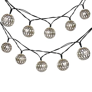 LUCKLED 11ft 10 LED Fairy Moroccan Ball Lights, Globe Solar String Lights  Decorative Lighting For