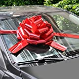 """WXJ13 16"""" Bright Red Car Bows with 6m Ribbon for Christmas Presents, Large Gift Decoration, Prom, Surprise Party, New Houses"""
