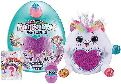 Pink Zuru RAINBOCORNS Plush Stuffed Unicorn GOLD Heart Horn Purple Rainbowcorns