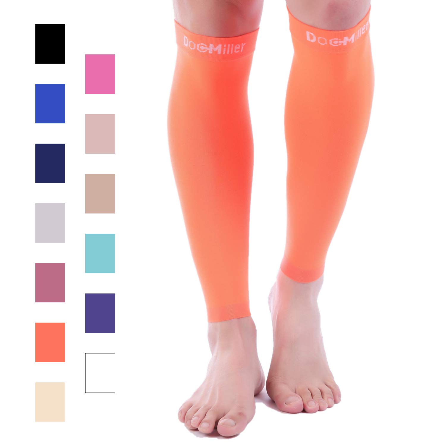 Doc Miller Premium Calf Compression Sleeve 1 Pair 20-30mmHg Strong Calf Support Graduated Pressure for Sports Running Muscle Recovery Shin Splints Varicose Veins (Orange, 4X-Large) by Doc Miller