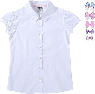 Bienzoe Niñas Uniforme Escolar Oxford Manga Corta Blusa Corbata de moño Paquete