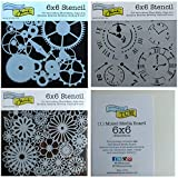3 Crafters Workshop Mixed Media Stencils   Gears, Clock, Steampunk, Watch Face, Flower Designs   for Journaling, Scrapbooking, Card Making   6 Inch x 6 Inch Templates Set with Board, Total 4 Items