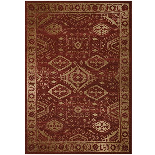 Maples Rugs Area Rugs - Georgina 5 x 7 Non Slip Large Rug [Made in USA] for Living Room, Bedroom, and Dining Room, 5' x 7', Red/Gold