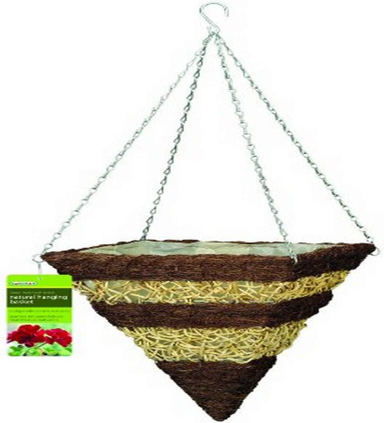 """Gardman R374 Brushwood and White Rattan Square Cone Hanging Basket, 14"""""""