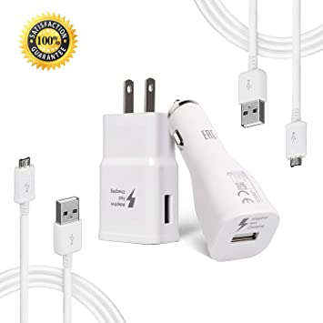 Samsung Adaptive Fast Charger Kit Compatible with Samsung Galaxy S7 Edge / S6 / Note5 / Note 4/ S3,Fast Charging ChiChiFit Quick Charger(Wall Charger ...