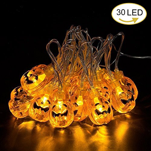 Halloween String Lights, Battery Powered 30 LED Pumpkin Lights, 2 Modes Décor Lights for Patio, Garden, Tree, Warm White, 9.8Ft/3Meters