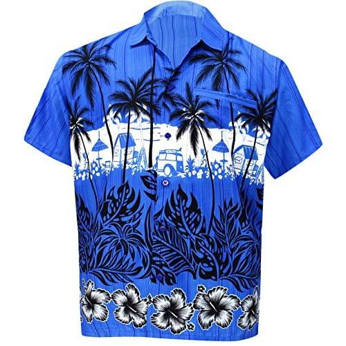 *La Leela* relajó la Aloha Hawaiano Botón de Manga Corta de los Hombres Abajo Hawaiano Camisa Azul SqpmkeqQ