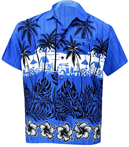 La Leela Aloha Hawaiian Tropical Beach Solid Plain Mens Casual Short Sleeves Button Down Tropical Shirts XL Blue (Shirt Printed Camp Silk)