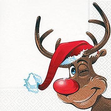 Bilder Rentiere Weihnachten.20 Servietten Rudolph Rentier Winter Weihnachten 33x33cm