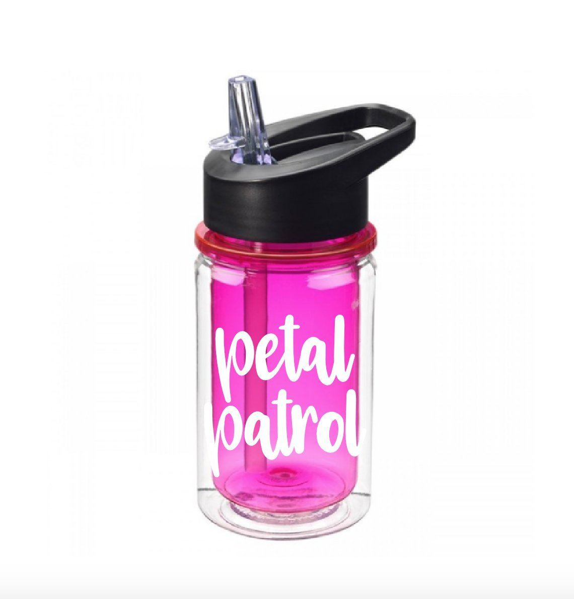 Petal patrol fuchsia water bottle 10 oz with flip top straw