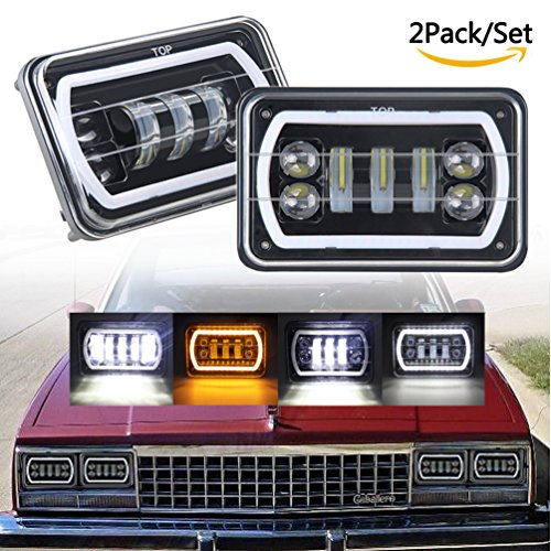 """Wholesale 2PCS 4x6 led Headlights 4""""x6"""" Sealed Beam Rectangular Replacement with DRL Amber Halo Turn Signal For Chevrolet Ford Trucks Freightliner Peterbil Kenworth H4651 H4652 H4656 H4666 H6545 hot sale"""
