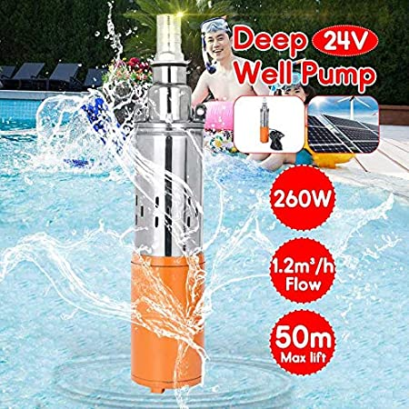 SHIJING Bomba de Agua Solar 24V 260W 50m Bomba Sumergible de Pozo Profundo Bomba de riego Bomba de Pozo Profundo para jardín
