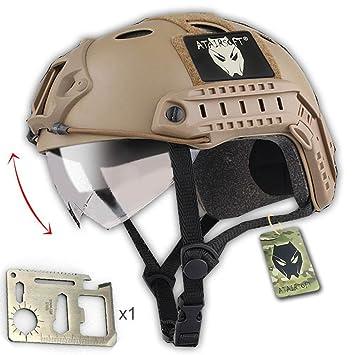bfd3b30af27 Worldshopping4U ATAIRSOFT Tactical SWAT Estilo Militar PJ Tipo Casco Lucha  rápida DE con Gafas para CQB Shot Airsoft Paintball: Amazon.es: Deportes y  aire ...