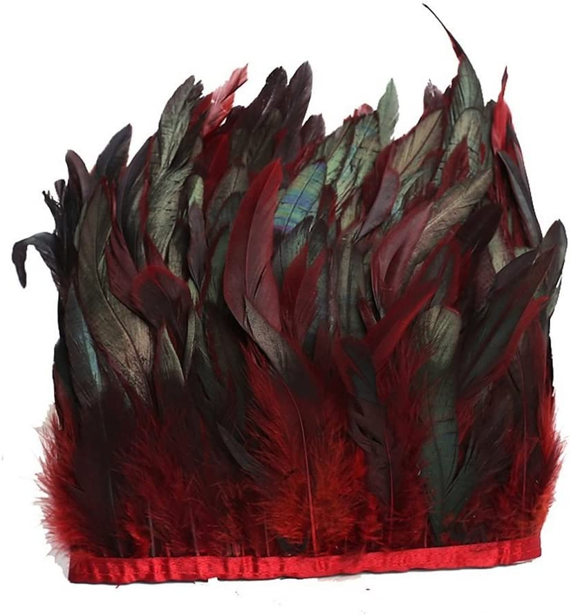/7/cm de ancho en decoraci/ón DIY kolight Pack de 2/yardas Natural gallo Hackle pluma borde flecos 5/