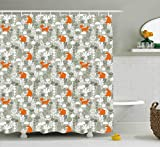 Ambesonne Fox Shower Curtain, Fox in The Winter Forest Abstract Cartoon Trees and Nature Animal Decor Pattern, Fabric Bathroom Decor Set with Hooks, 84 Inches Extra Long, Sage Green and Orange