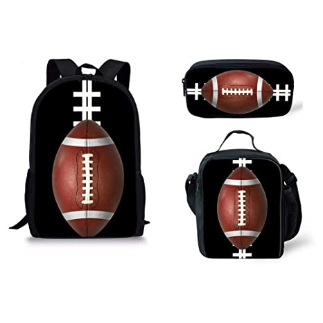 457ba75d9531 HUGS IDEA Rugby Ball Print Backpack Set for Teen Boys School Book bag with  Lunch Box Pencil Case 3 in 1