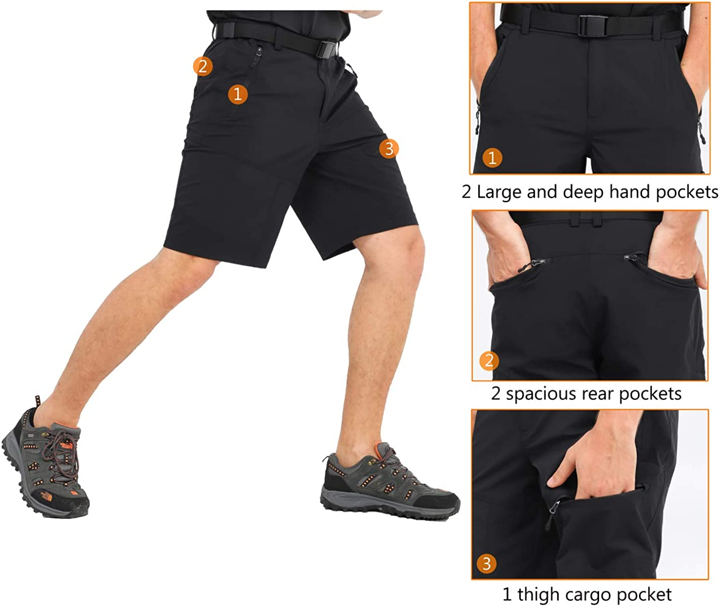 Quick Dry and Water Resistant MIER Mens Stretch Tactical Shorts Lightweight Outdoor Cargo Shorts with 5 Zipper Pockets