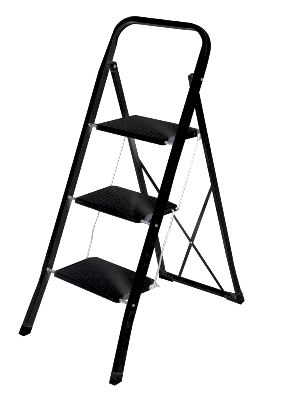 Home Basic SL10126-BLK 3 Step Ladder, 35.5'', Black