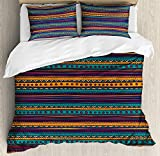 4 Piece Twin Size Duvet Cover Set,Tribal Striped Retro Aztec Rich Mexican Ethnic Folkloric,Bedding Set Luxury Bedspread(Flat Sheet Quilt and 2 Pillow Cases for Kids/Adults/Teens/Childrens