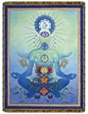 Chakra Man Blue Tapestry Throw Blanket by Circles of Light Imports
